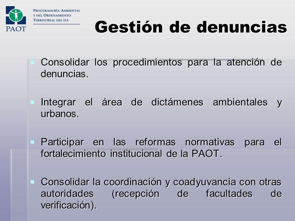 Gestión de denuncias Consolidar los procedimientos para la atención de denuncias. Consolidar los procedimientos para la atención de denuncias. Integra