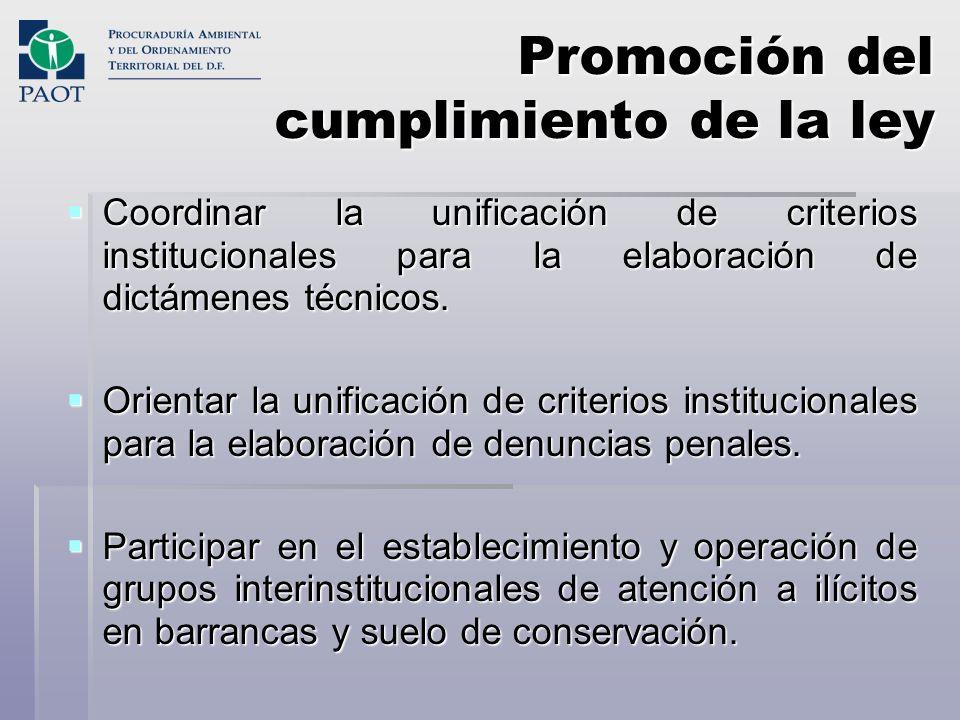 Promoción del cumplimiento de la ley Coordinar la unificación de criterios institucionales para la elaboración de dictámenes técnicos. Coordinar la un