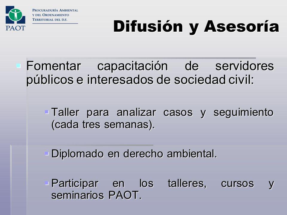 Difusión y Asesoría Fomentar capacitación de servidores públicos e interesados de sociedad civil: Fomentar capacitación de servidores públicos e inter