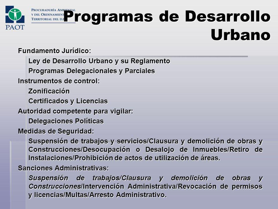 Programas de Desarrollo Urbano Fundamento Jurídico: Ley de Desarrollo Urbano y su Reglamento Programas Delegacionales y Parciales Instrumentos de cont