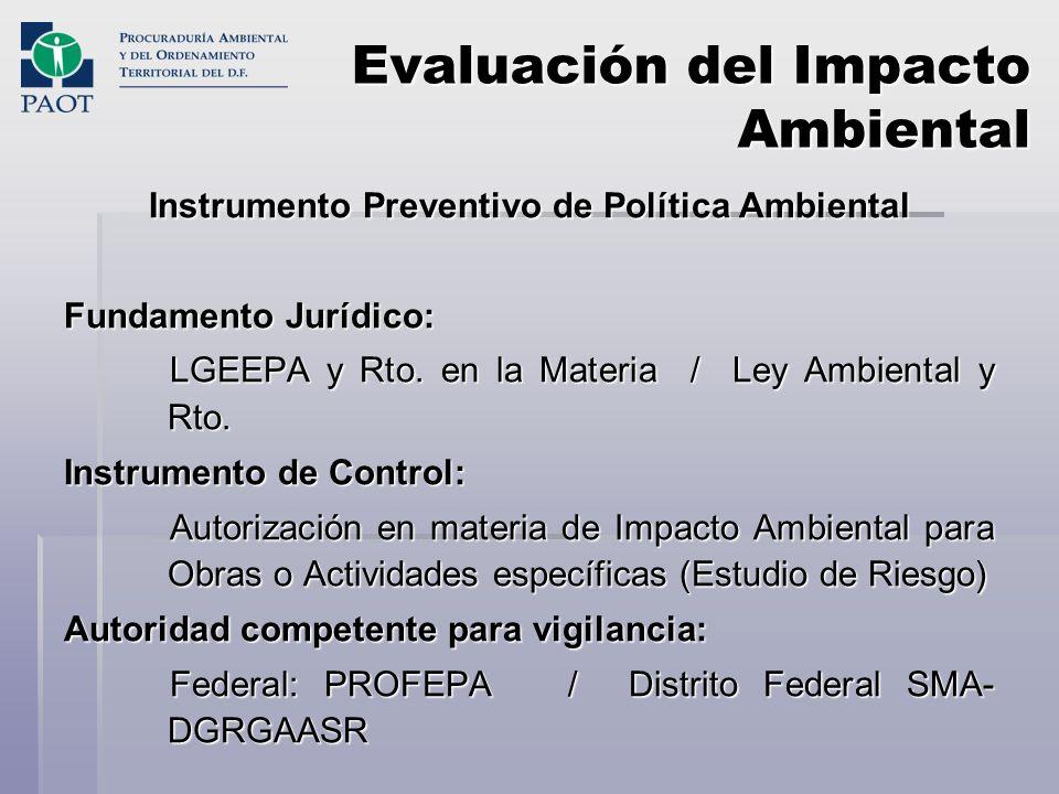 Evaluación del Impacto Ambiental Instrumento Preventivo de Política Ambiental Fundamento Jurídico: LGEEPA y Rto. en la Materia / Ley Ambiental y Rto.