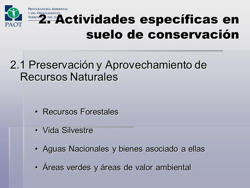 2. Actividades específicas en suelo de conservación 2.1 Preservación y Aprovechamiento de Recursos Naturales Recursos ForestalesRecursos Forestales Vi