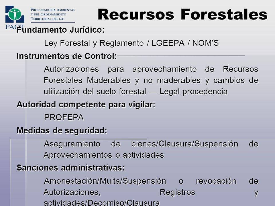 Recursos Forestales Fundamento Jurídico: Ley Forestal y Reglamento / LGEEPA / NOMS Instrumentos de Control: Autorizaciones para aprovechamiento de Rec