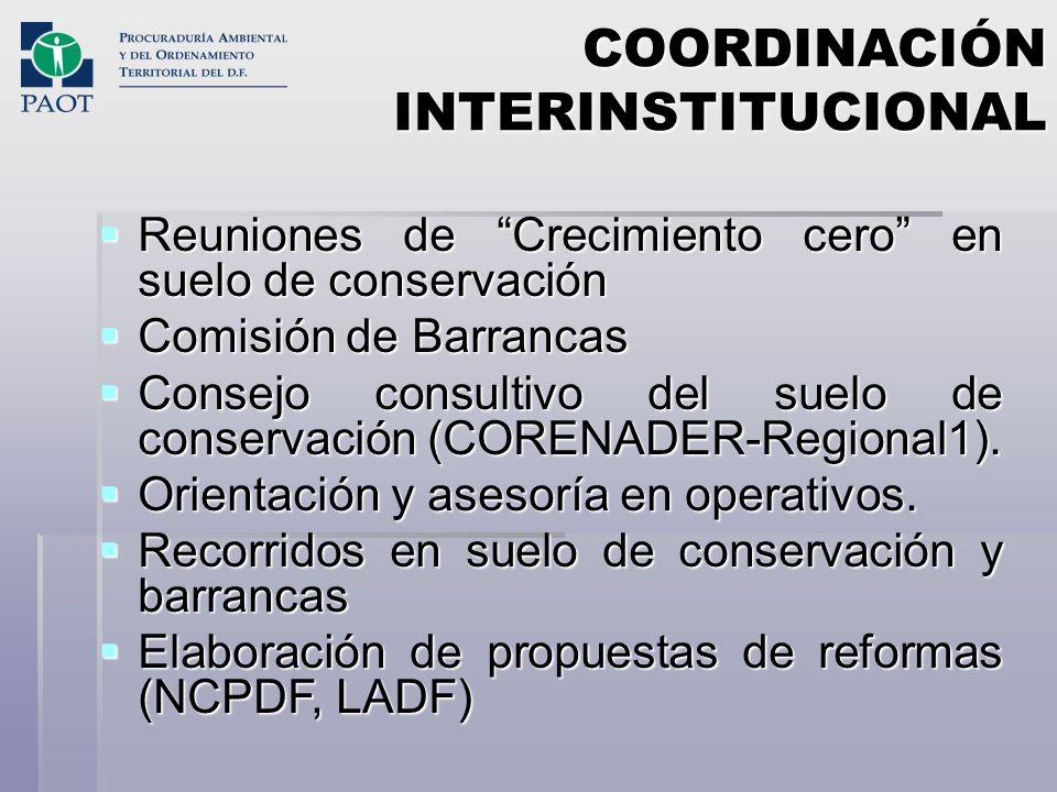 COORDINACIÓN INTERINSTITUCIONAL Reuniones de Crecimiento cero en suelo de conservación Reuniones de Crecimiento cero en suelo de conservación Comisión