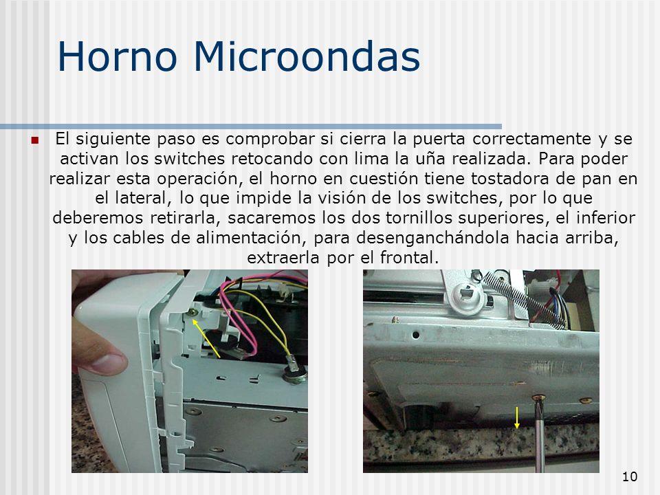10 Horno Microondas El siguiente paso es comprobar si cierra la puerta correctamente y se activan los switches retocando con lima la uña realizada. Pa