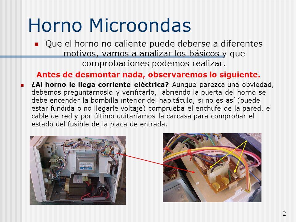 2 Horno Microondas Que el horno no caliente puede deberse a diferentes motivos, vamos a analizar los básicos y que comprobaciones podemos realizar. An