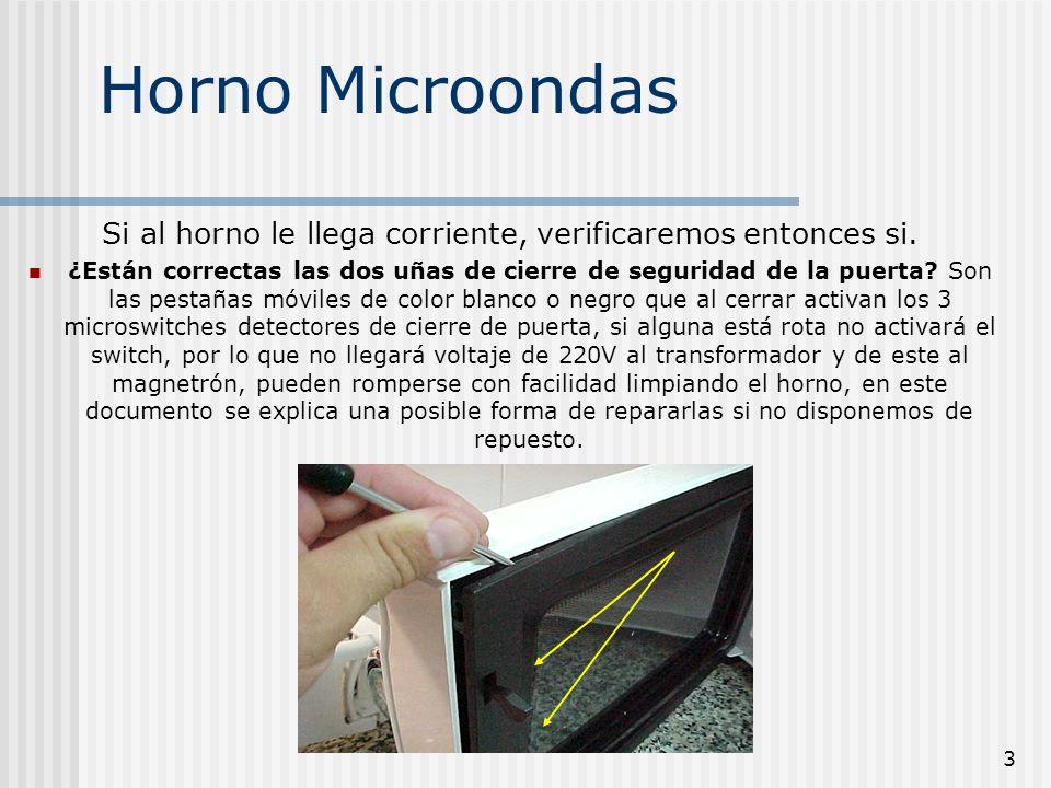 3 Horno Microondas Si al horno le llega corriente, verificaremos entonces si. ¿Están correctas las dos uñas de cierre de seguridad de la puerta? Son l