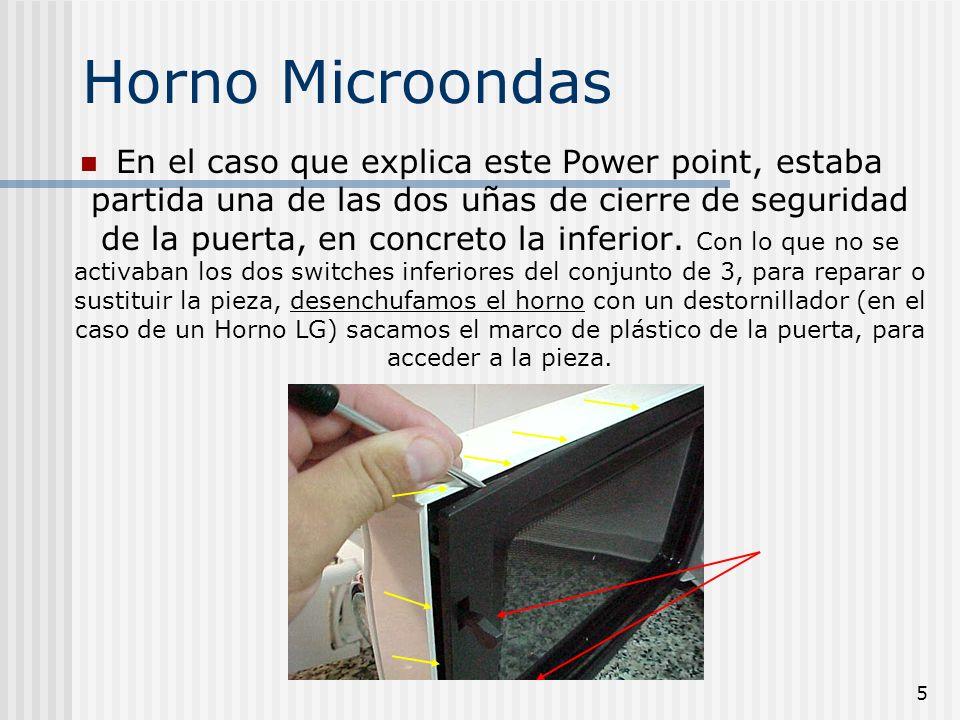 5 Horno Microondas En el caso que explica este Power point, estaba partida una de las dos uñas de cierre de seguridad de la puerta, en concreto la inf