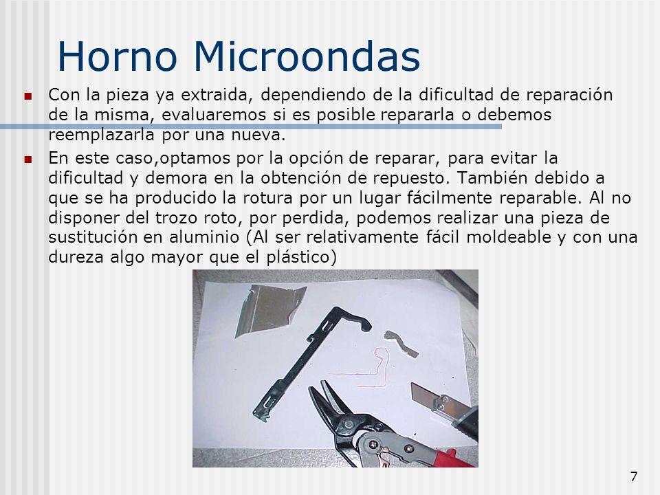 7 Horno Microondas Con la pieza ya extraida, dependiendo de la dificultad de reparación de la misma, evaluaremos si es posible repararla o debemos ree