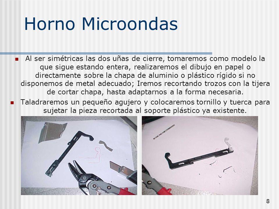 8 Horno Microondas Al ser simétricas las dos uñas de cierre, tomaremos como modelo la que sigue estando entera, realizaremos el dibujo en papel o dire