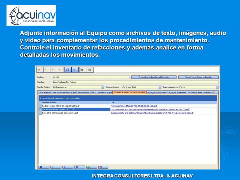 Adjunte información al Equipo como archivos de texto, imágenes, audio y video para complementar los procedimientos de mantenimiento. Controle el inven