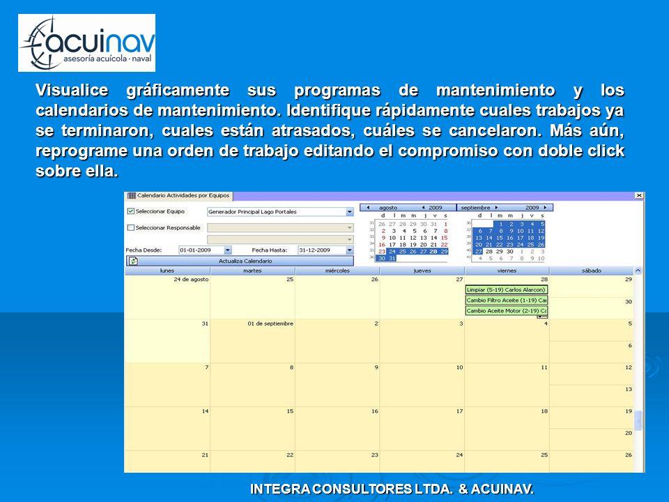 Visualice gráficamente sus programas de mantenimiento y los calendarios de mantenimiento. Identifique rápidamente cuales trabajos ya se terminaron, cu
