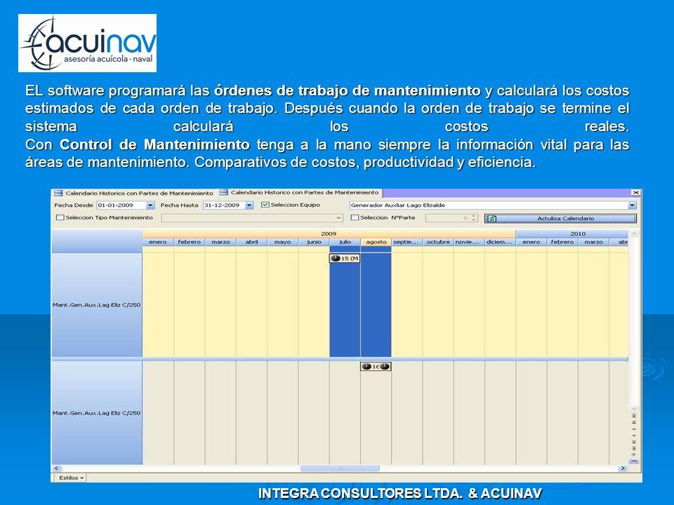 EL software programará las órdenes de trabajo de mantenimiento y calculará los costos estimados de cada orden de trabajo.