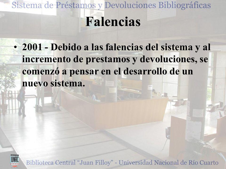 Falencias 2001 - Debido a las falencias del sistema y al incremento de prestamos y devoluciones, se comenzó a pensar en el desarrollo de un nuevo sistema.