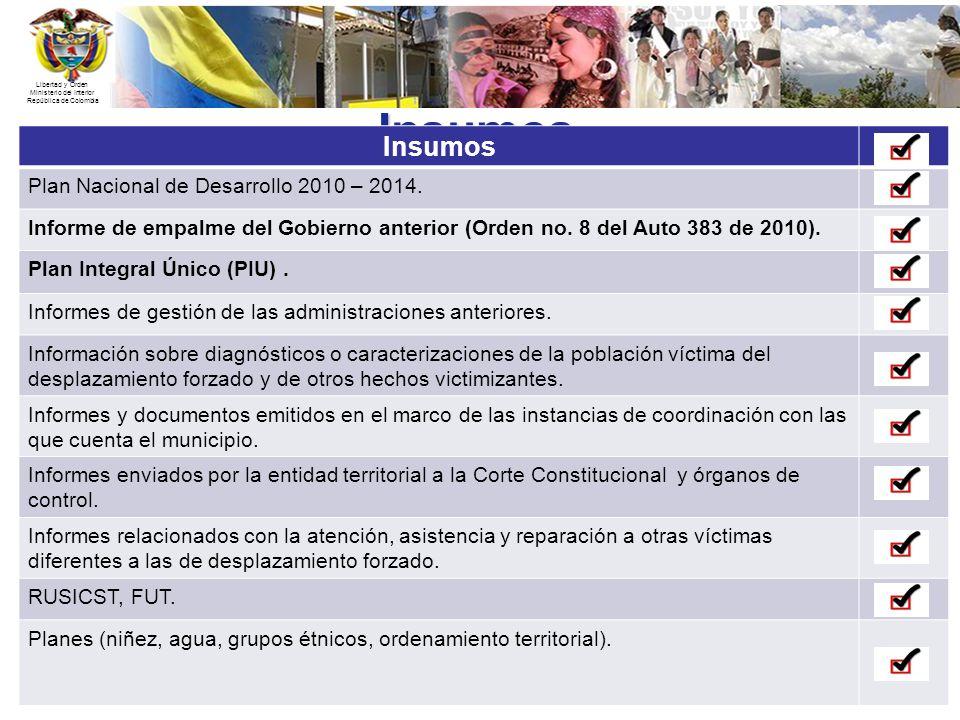 Libertad y Orden Ministerio del Interior República de Colombia Insumos Insumos Plan Nacional de Desarrollo 2010 – 2014. Informe de empalme del Gobiern