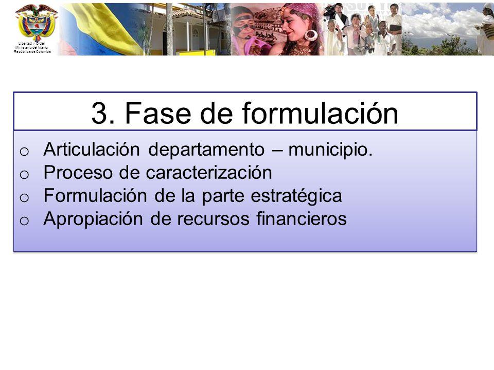 Libertad y Orden Ministerio del Interior República de Colombia 3. Fase de formulación o Articulación departamento – municipio. o Proceso de caracteriz
