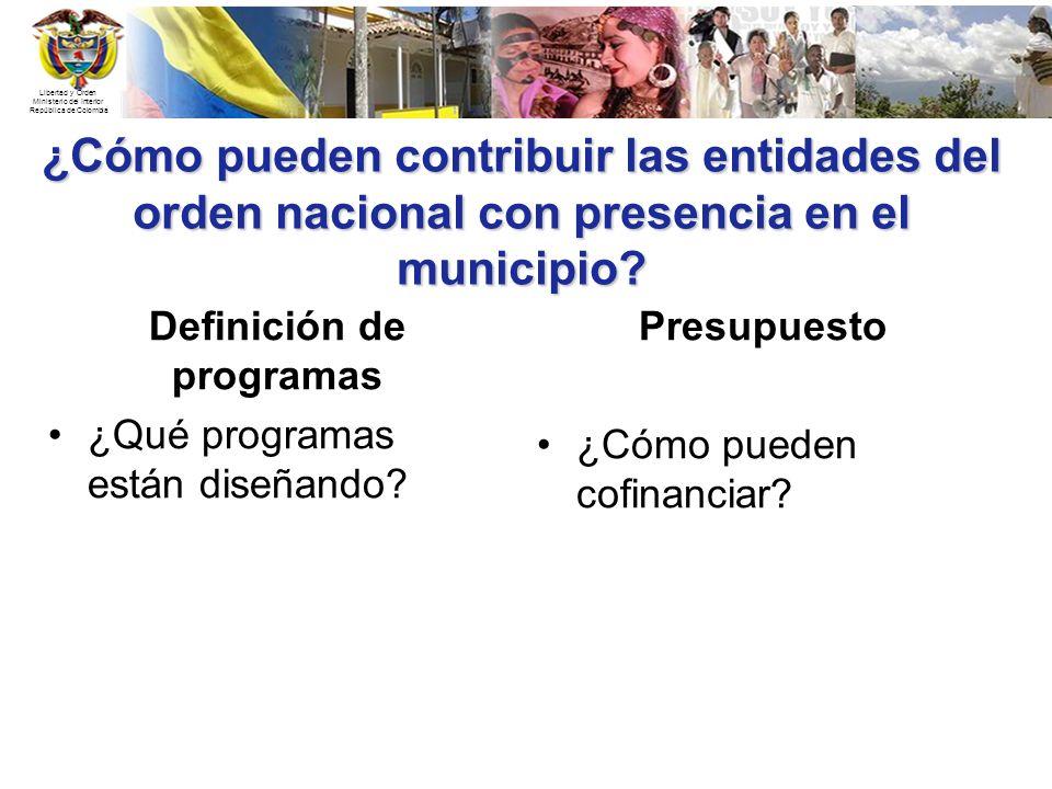 Libertad y Orden Ministerio del Interior República de Colombia ¿Cómo pueden contribuir las entidades del orden nacional con presencia en el municipio?