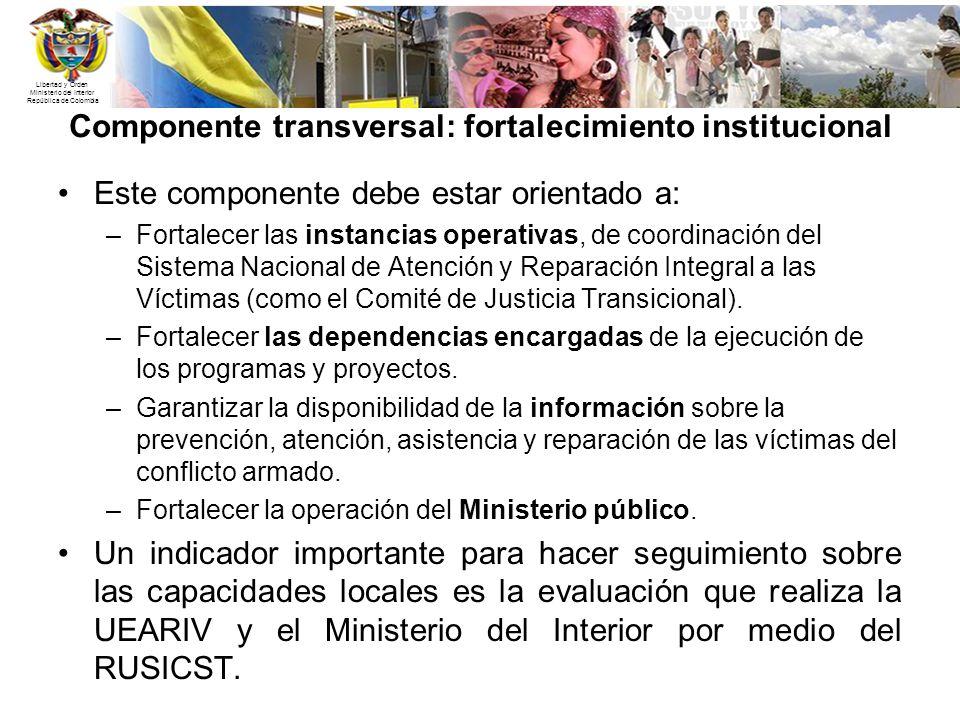 Libertad y Orden Ministerio del Interior República de Colombia Componente transversal: fortalecimiento institucional Este componente debe estar orient