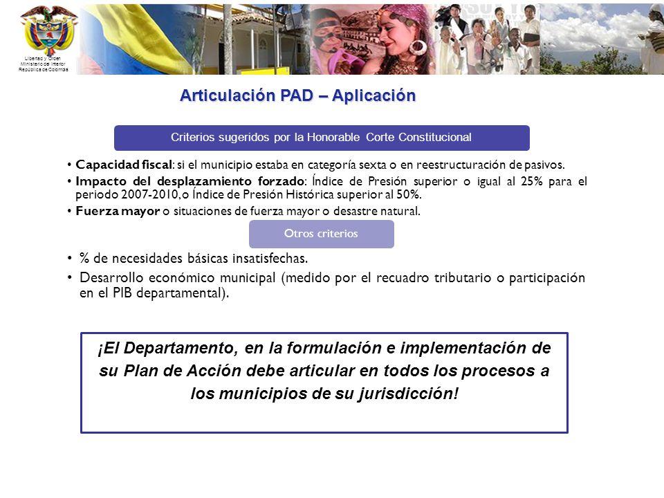 Libertad y Orden Ministerio del Interior República de Colombia Articulación PAD – Aplicación Criterios sugeridos por la Honorable Corte Constitucional