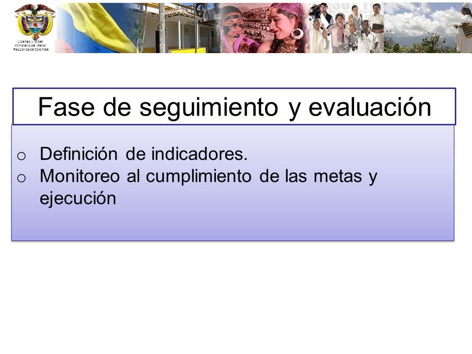 Libertad y Orden Ministerio del Interior República de Colombia Fase de seguimiento y evaluación o Definición de indicadores. o Monitoreo al cumplimien