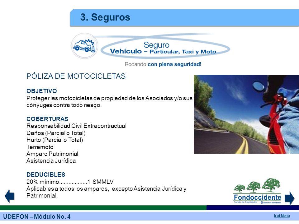 UDEFON – Módulo No. 4 Ir al Menú 3. Seguros PÓLIZA DE MOTOCICLETAS OBJETIVO Proteger las motocicletas de propiedad de los Asociados y/o sus cónyuges c