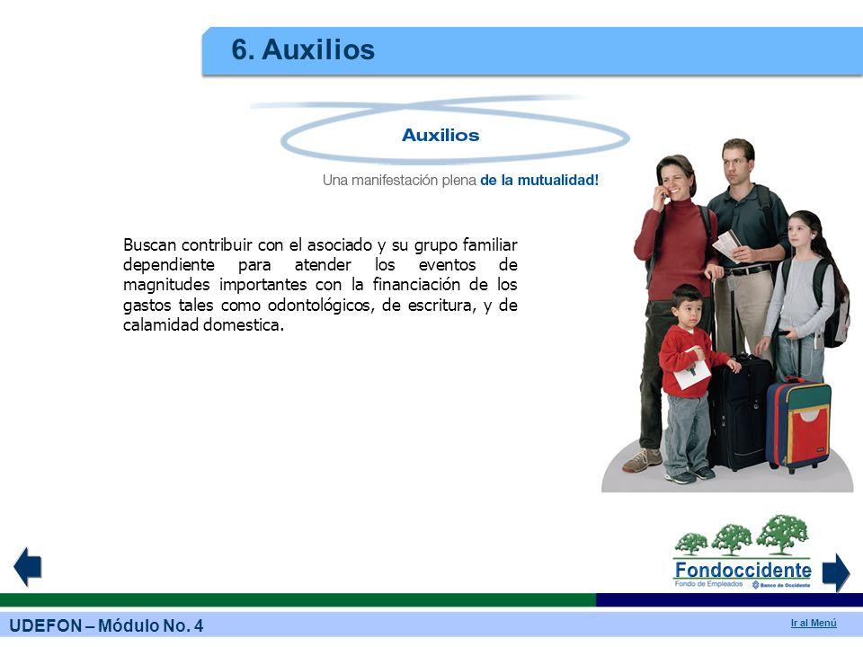 UDEFON – Módulo No. 4 Ir al Menú 6. Auxilios Buscan contribuir con el asociado y su grupo familiar dependiente para atender los eventos de magnitudes