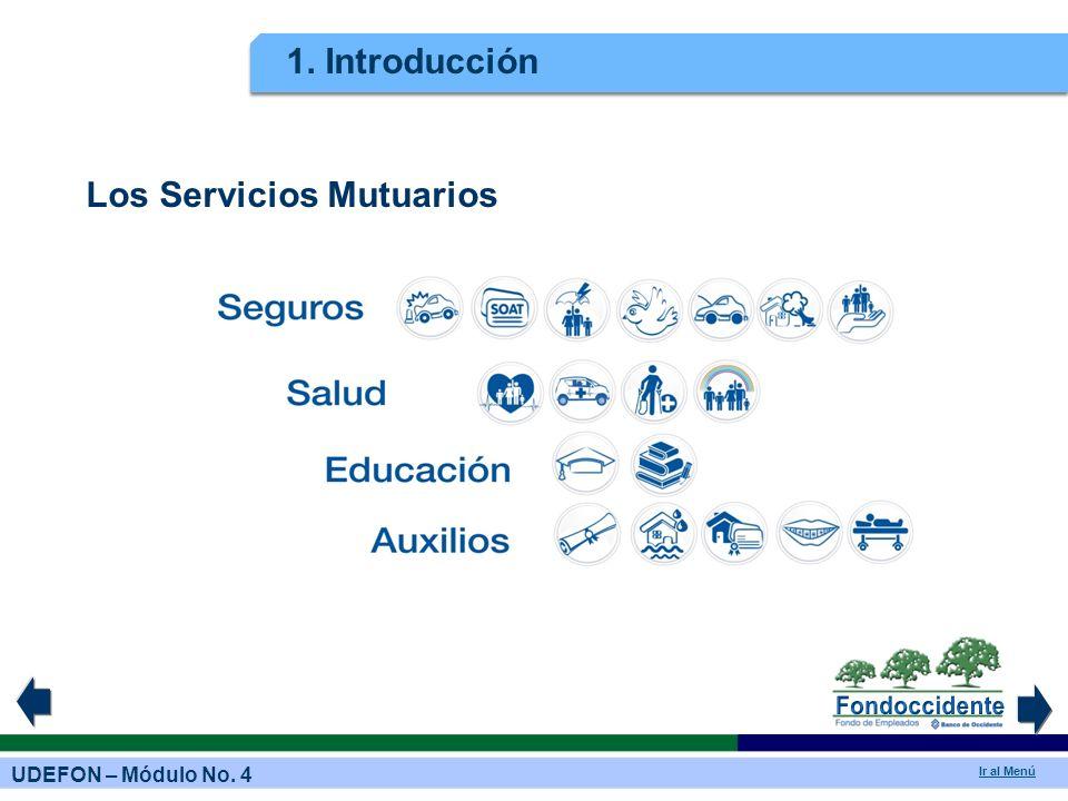 UDEFON – Módulo No. 4 Ir al Menú 1. Introducción Los Servicios Mutuarios