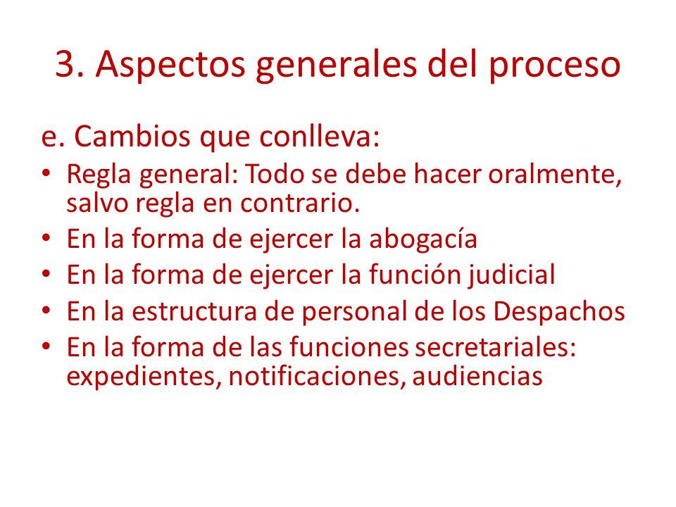 3. Aspectos generales del proceso e. Cambios que conlleva: Regla general: Todo se debe hacer oralmente, salvo regla en contrario. En la forma de ejerc