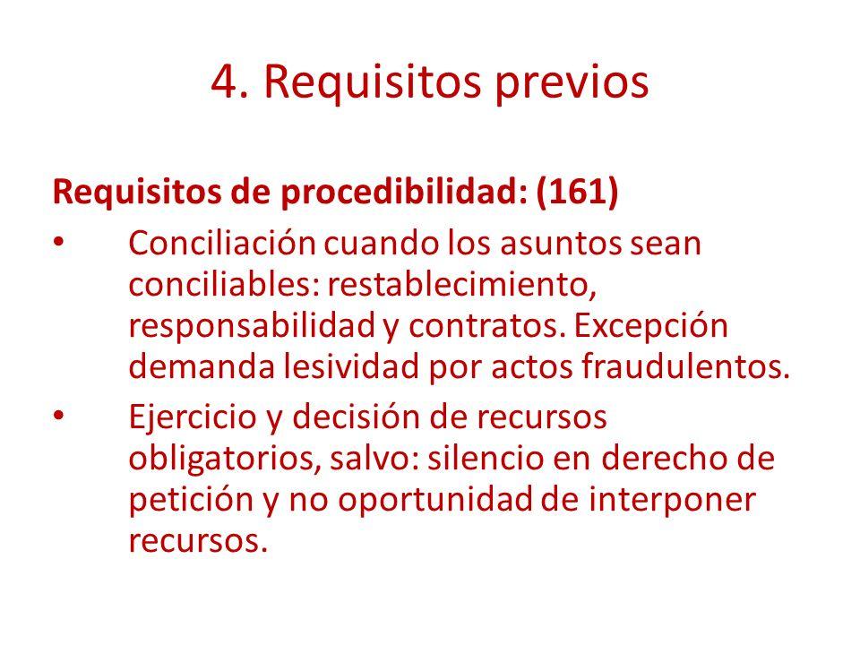 4. Requisitos previos Requisitos de procedibilidad: (161) Conciliación cuando los asuntos sean conciliables: restablecimiento, responsabilidad y contr