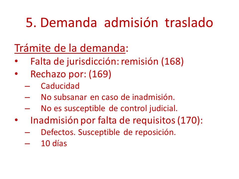 5. Demanda admisión traslado Trámite de la demanda: Falta de jurisdicción: remisión (168) Rechazo por: (169) – Caducidad – No subsanar en caso de inad