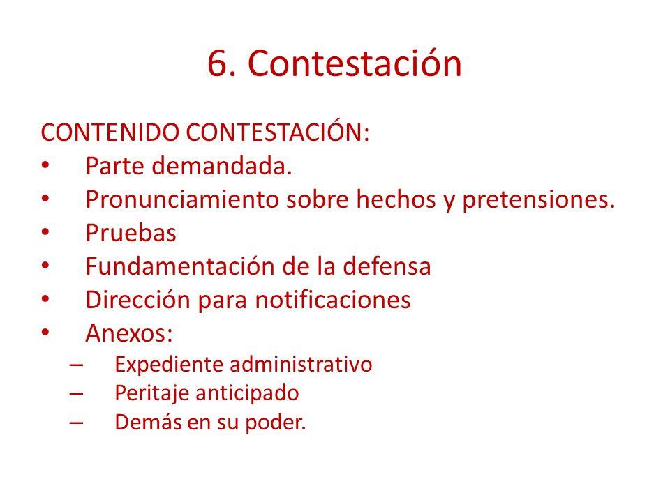 6. Contestación CONTENIDO CONTESTACIÓN: Parte demandada. Pronunciamiento sobre hechos y pretensiones. Pruebas Fundamentación de la defensa Dirección p