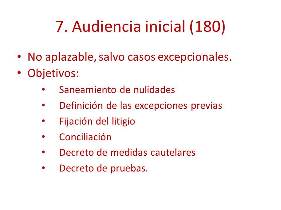 7. Audiencia inicial (180) No aplazable, salvo casos excepcionales. Objetivos: Saneamiento de nulidades Definición de las excepciones previas Fijación