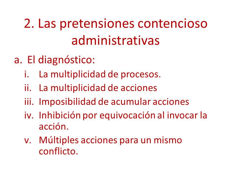 2.Las pretensiones contencioso administrativas a.El diagnóstico: i.La multiplicidad de procesos.