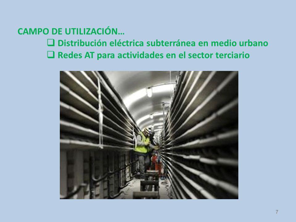 7 CAMPO DE UTILIZACIÓN… Distribución eléctrica subterránea en medio urbano Redes AT para actividades en el sector terciario