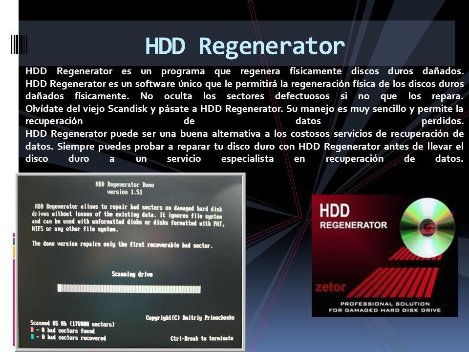HDD Regenerator es un programa que regenera físicamente discos duros dañados.