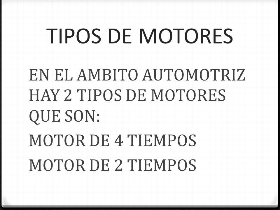 MOTOR DE 4 TIEMPOS 0 Se denomina motor de cuatro tiempos al motor de combustión interna alternativo tanto de ciclo Otto como ciclo del diésel, que precisa cuatro, o en ocasiones cinco, carreras del pistón o émbolo (dos vueltas completas del cigüeñal) para completar el ciclo termodinámico de combustión.