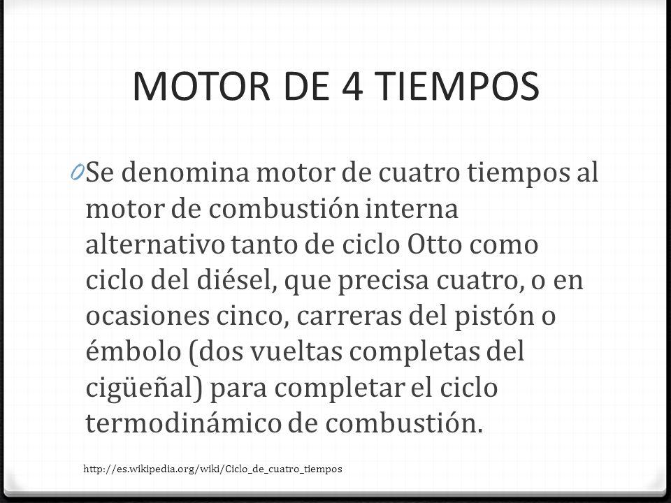 MOTOR DE 4 TIEMPOS 0 Se denomina motor de cuatro tiempos al motor de combustión interna alternativo tanto de ciclo Otto como ciclo del diésel, que pre