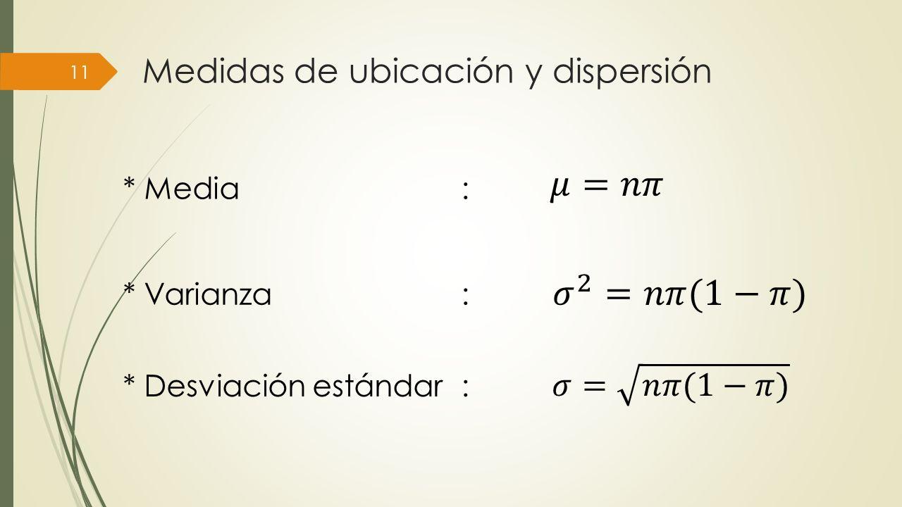 Medidas de ubicación y dispersión 11 * Media: * Varianza: * Desviación estándar: