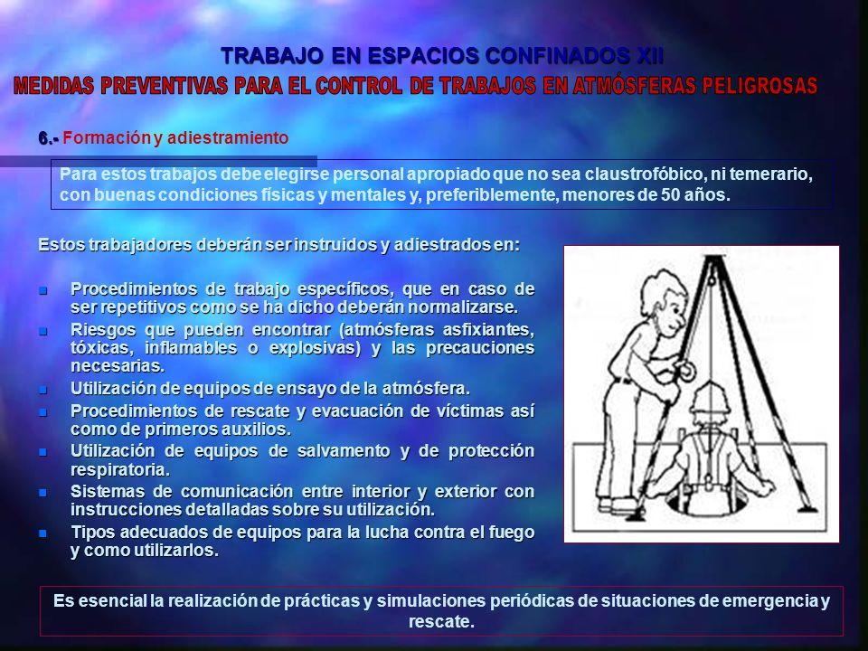 TRABAJO EN ESPACIOS CONFINADOS XII Estos trabajadores deberán ser instruidos y adiestrados en: n Procedimientos de trabajo específicos, que en caso de