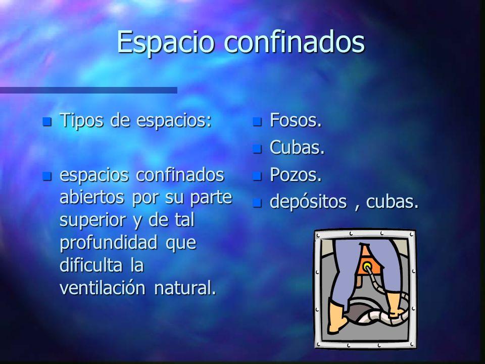 Espacio confinados n Tipos de espacios: n espacios confinados abiertos por su parte superior y de tal profundidad que dificulta la ventilación natural