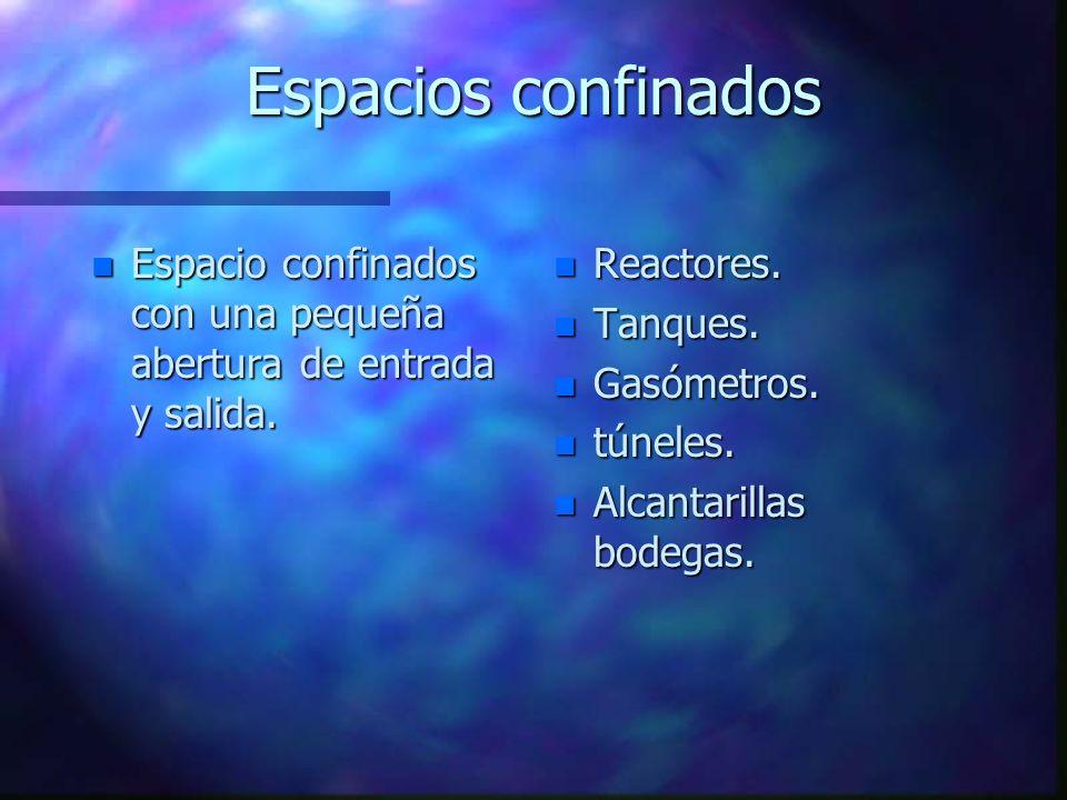 Espacios confinados n Espacio confinados con una pequeña abertura de entrada y salida. n Reactores. n Tanques. n Gasómetros. n túneles. n Alcantarilla