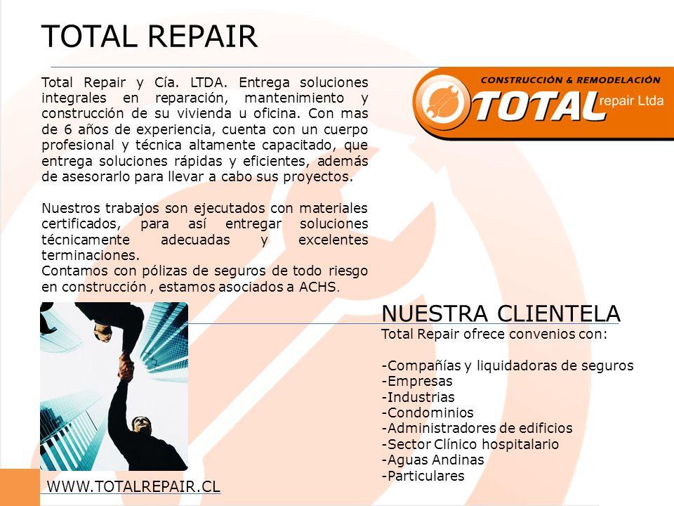 TOTAL REPAIR Total Repair y Cía. LTDA. Entrega soluciones integrales en reparación, mantenimiento y construcción de su vivienda u oficina. Con mas de