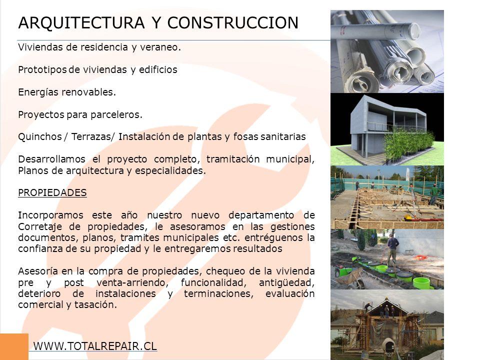 ARQUITECTURA Y CONSTRUCCION Viviendas de residencia y veraneo. Prototipos de viviendas y edificios Energías renovables. Proyectos para parceleros. Qui