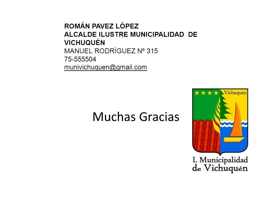 Muchas Gracias ROMÁN PAVEZ LÓPEZ ALCALDE ILUSTRE MUNICIPALIDAD DE VICHUQUÉN MANUEL RODRÍGUEZ Nº 315 75-555504 munivichuquen@gmail.com
