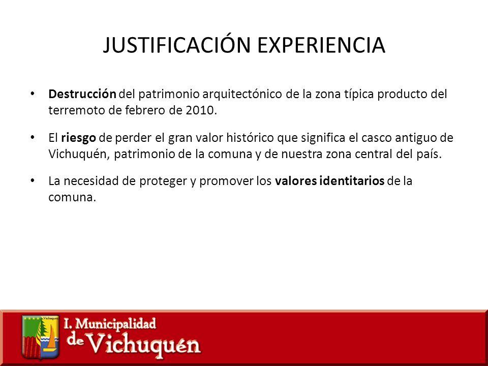 JUSTIFICACIÓN EXPERIENCIA Destrucción del patrimonio arquitectónico de la zona típica producto del terremoto de febrero de 2010. El riesgo de perder e