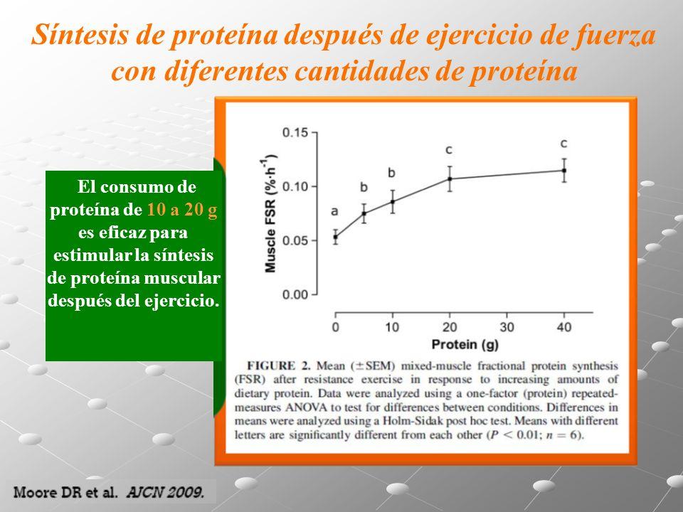 Síntesis de proteína después de ejercicio de fuerza con diferentes cantidades de proteína El consumo de proteína de 10 a 20 g es eficaz para estimular la síntesis de proteína muscular después del ejercicio.