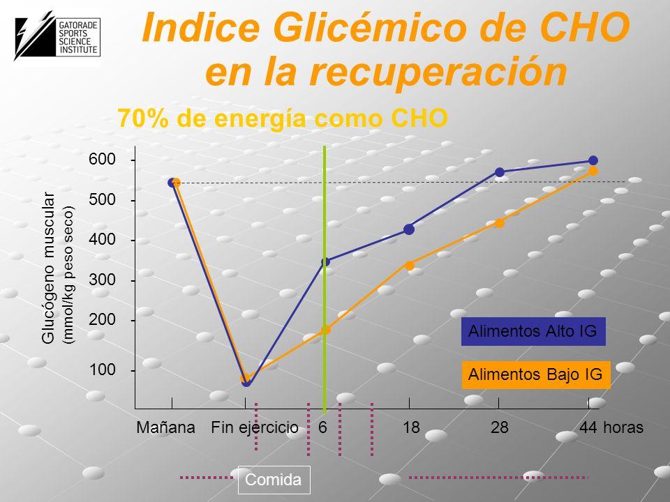 Glucógeno muscular (mmol/kg peso seco) Mañana Fin ejercicio 6 18 28 44 Alimentos Bajo IG Alimentos Alto IG Comida horas 600 - 500 - 400 - 300 - 200 - 100 - 70% de energía como CHO Indice Glicémico de CHO en la recuperación