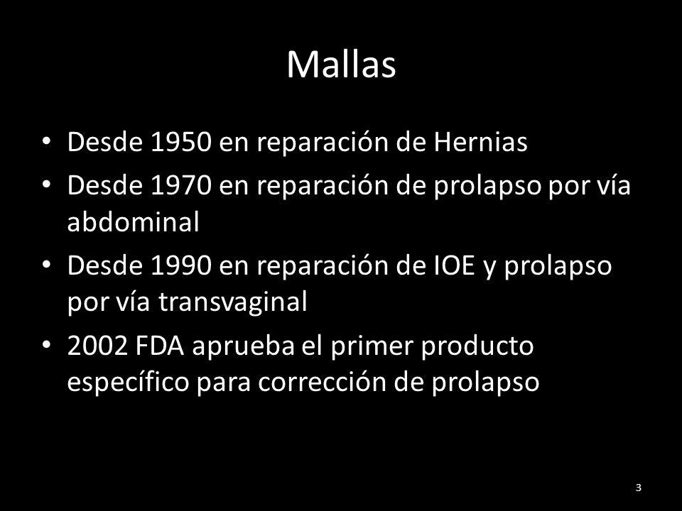 Estudios Randomizados Controlados Altman, NEJM, 2011Prolift Anterior N malla: 200N tradicional: 189 Cura objetiva: 60.8 % (malla) v/s 34.5 % (tradicional) p<0.001 Sensación de masa vaginal: 75.4 % (malla) v/s 62.1 % (tradicional) p=0.008 Cx malla presentó mayor tiempo operatorio y mayor sangrado intraoperatorio (p<0.001) Reoperación por exposición de malla: 3.2 % 14