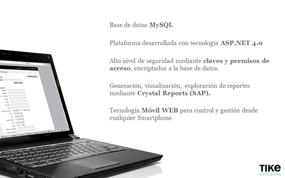 Plataforma desarrollada con tecnología ASP.NET 4.0 Base de datos MySQL Alto nivel de seguridad mediante claves y permisos de acceso, encriptados a la