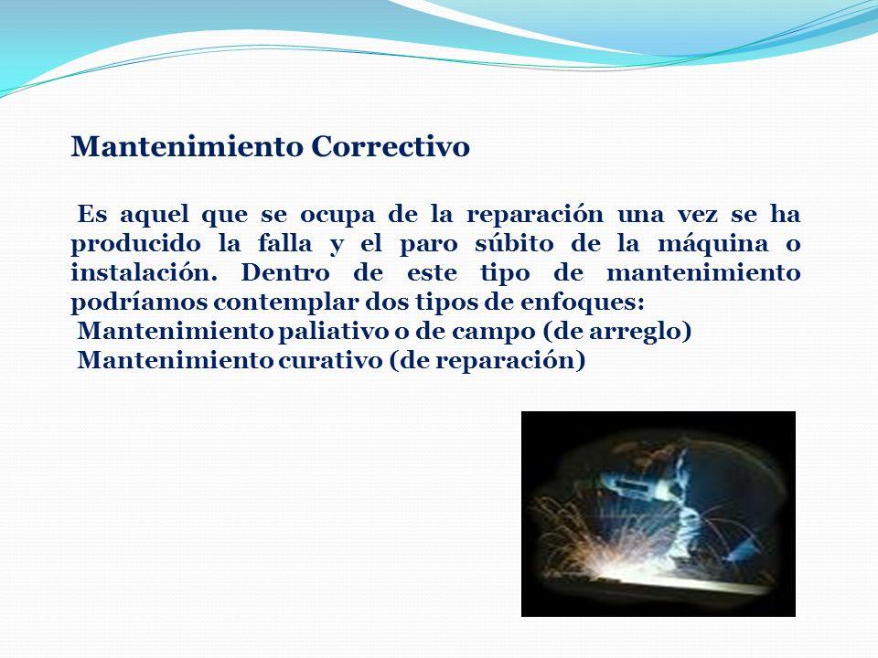 Mantenimiento Correctivo Es aquel que se ocupa de la reparación una vez se ha producido la falla y el paro súbito de la máquina o instalación. Dentro